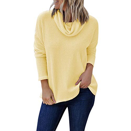 (Cenglings Women Casual Cowl Neck Long Sleeve Solid Shirt Turtleneck Sweater Blouse Top Pullover Plus Size Loose Knit Tops Yellow)