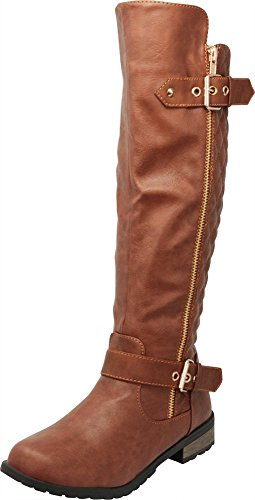 Cambridge Select Women's Quilted Side Zip Knee High Flat Riding Boots,8 B(M) ()