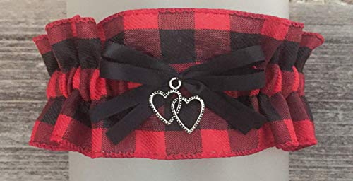 Buffalo Check Plaid Red and Black Bridal Wedding Keepsake Garter - Double Heart Charm - Plaid Accessories