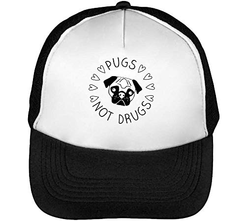 Pugs Not Drugs Black Fashioned Gorras Hombre Snapback Beisbol Negro Blanco