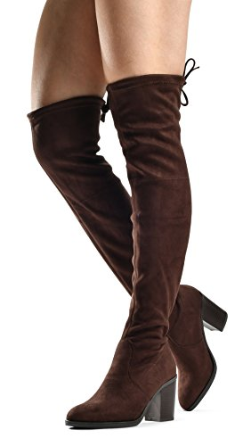 - Women's Haley Over The Knee Pull On Boot - Drawstring Back Comfort Block Chunky Heel Pointy Round Toe Brown SU 7.5