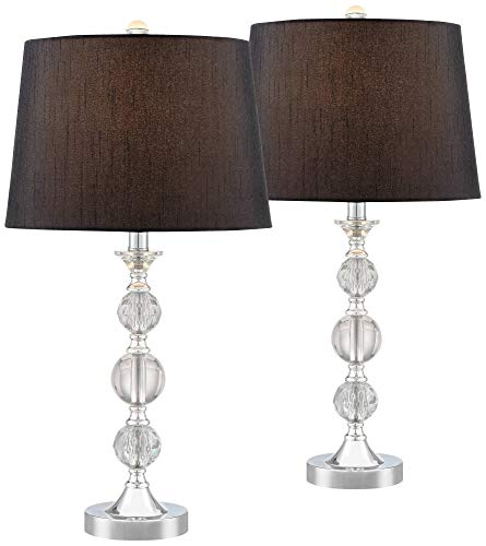 Gustavo Modern Table Lamps Set of 2 Silver Metal Stacked Crystal Balls Black Drum Shade for Living Room Family Bedroom - Regency Hill (Table Lamps Black Crystal And)