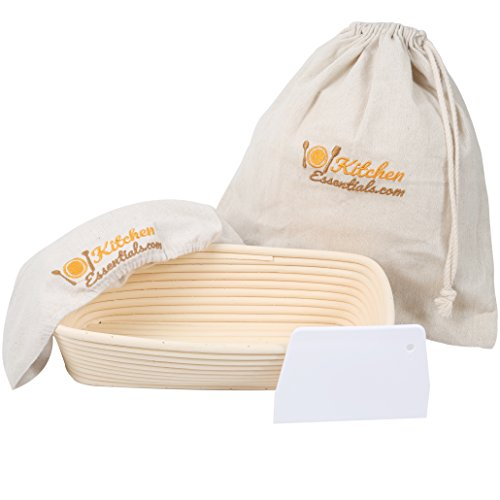 4-In-1 Oval Bread Proofing Basket Set – 12 inch Banneton Proofing Basket + Liner + Scraper + Linen Bag – Rectangle Brotform Proofer Bowl for Artisan Bread, Sourdough, Loaves & Others ()