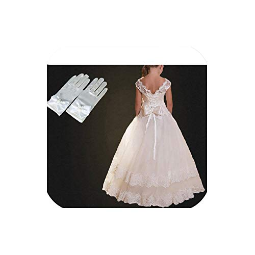 Summer Formal Gown Children Lace Flower Wedding Evening Prom Long Dresses,White Set A,9