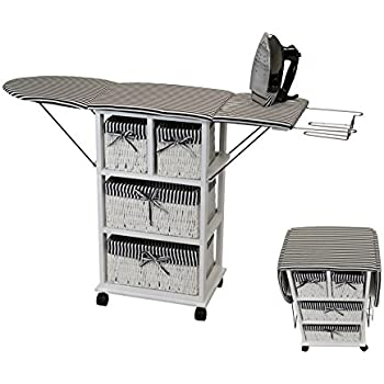 Corner Housewares Waist Height Folding Ironing Board Center with Padded Top, Wheels, Metal Iron Rest and 4 Baskets, Black/White