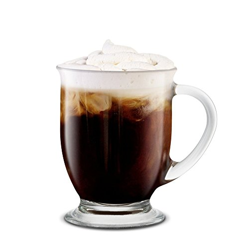 KooK Café Coffee Or Tea Glass Hot Mugs Set 15oz (Set of 6)