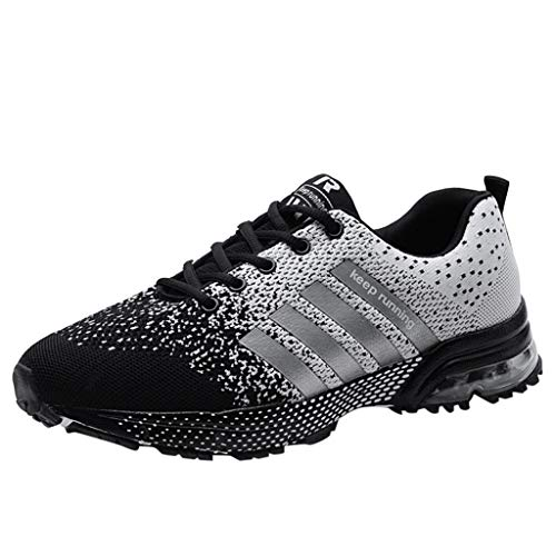 Sunhusing Men Women Couples Solid Color Mesh Breathable Sneakers Lace-Up Athletic Running Shoes ()