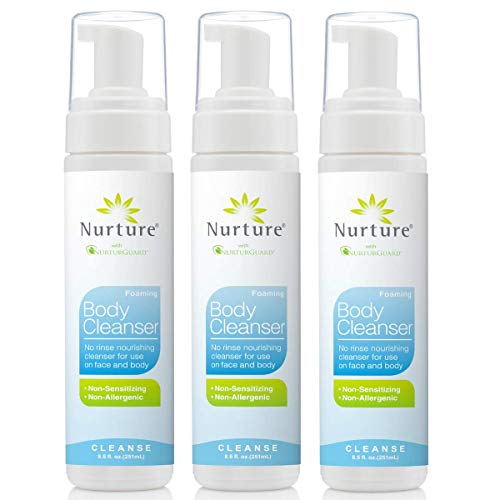 Foam Body Soap - No Rinse Body Wash by Nurture | Full Body Cleansing Foam That Also Moisturizes, and Protects Skin - Non Allergenic - Non sensitizing - Rinse Free Wipe Away Cleanser - 3 Bottles