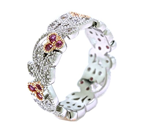Eternity Floral Design Ring (Platinum and Rose Gold Overlay Leaves and Pink Flower Vintage Filigree Eternity Anniversary Ring Band (10))