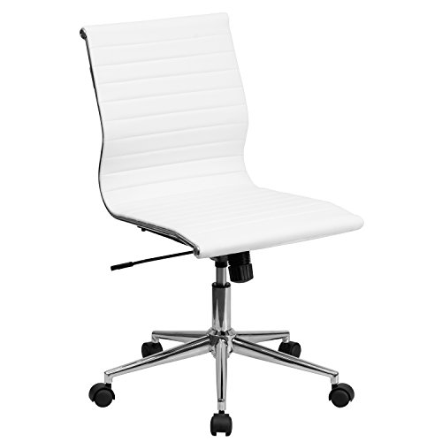 Leather Armless - Flash Furniture Mid-Back Armless White Ribbed Leather Swivel Conference Chair