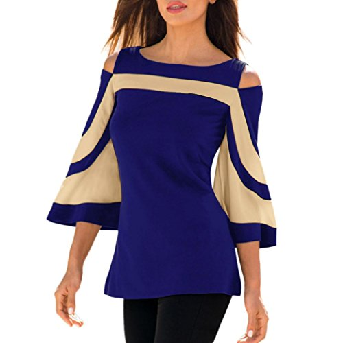 Shirt Stripe Dress (2018 Women's Casual Cold Shoulder Long Sleeve O-Neck Pullover Blouse Tops Shirt by E-Scenery (Blue, Medium))