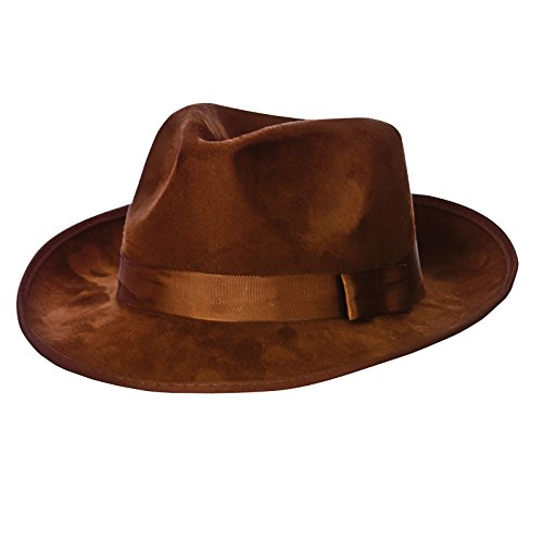 Fedora - Top Quality Brown Suede Fancy Dress Hat