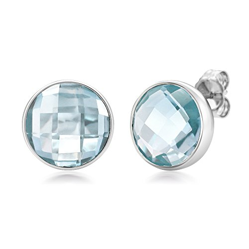 Gem Stone King Sterling Silver Blue Topaz Round Checkerboard Style Women s Stud Earrings 7.00 cttw, 10MM Round