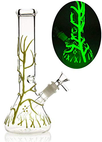 MILISA 10 Inch Tree Vine Glass Art Glow in The Dark (Glow In The Dark Weed Pipes For Sale)