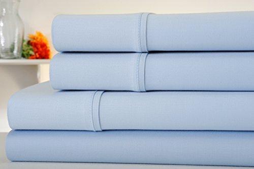 Kathy Ireland Essentials 300 Thread Count 100% Cotton Sateen 4 Piece Sheet Set - 6 Colors - Luxurious Soft Deep Pocket Quality Bedding (Queen, Light Blue) - Kathy Ireland 4 Light