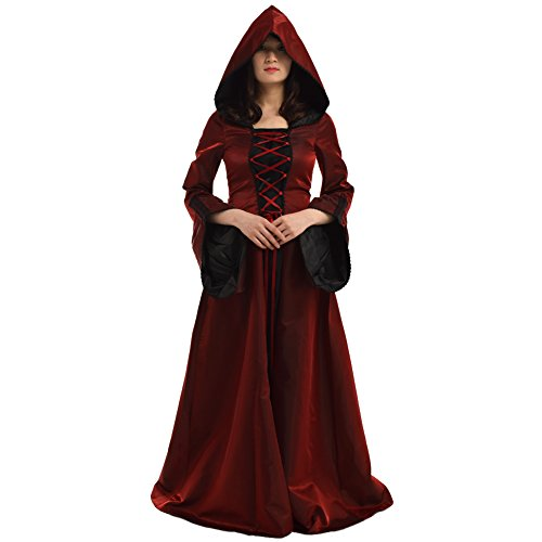 BLESSUME Women Renaissance Medieval Witch Dress Cosplay Costume Wine Red ()