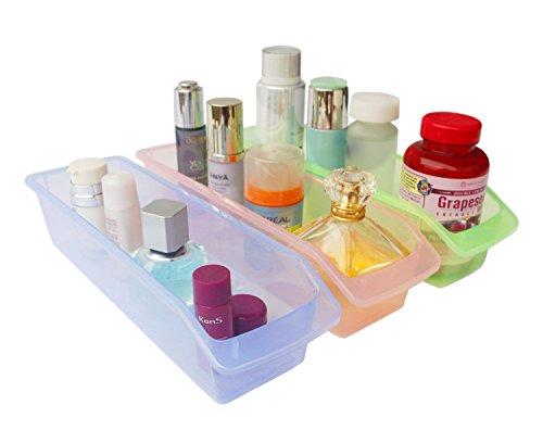 Honla Small Plastic Drawer Organizer TraysBinsSet of 3