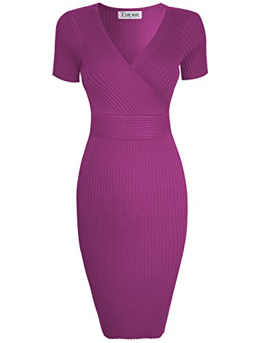 TAM Ware Womens Stylish Surplice Wrap Bodycon Knit Midi Dress TWCWD157-D166-SPRINGCROCUS-US XL ()