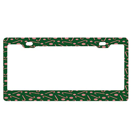 GRAETfpeoglsd Xmas Season Sweets Candy Cane Lollipop Merry Christmas Theme Personalized Metal License Plate Auto Car Tag