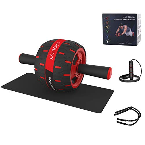 Ab Roller for Abs Exercise Workout Fitness -Ab Wheel Roller with Knee Mat and Jump Rope Resistance Bands,Perfect Home…