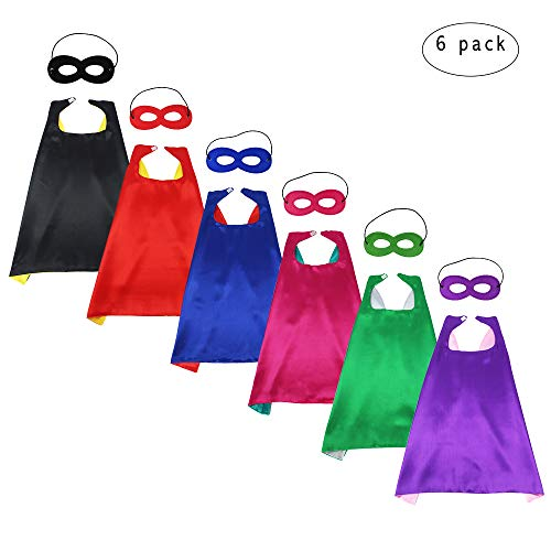 Children's Superhero capes and Masks Party Costumes Set Dual Color for Boys Girls' Role Cosplay Fancy Dress by BREEZEIE