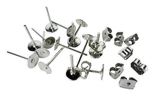 DIYcraft Stainless Steel Earrings Pin Stud Findings DIY Back Post Pad Blank 100 Pieces - Medium Pierced Plate