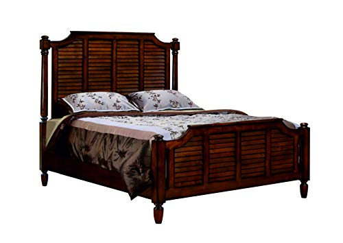 (Sunset Trading CF-1105-0158-QB Bahama Shutter Wood Queen Bed, Tropical Walnut)