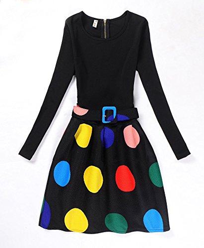 manica elegante stampa 2 L vintage vestito lunga inverno Hippolo da donna 5 con autunno xqCaf5wnF