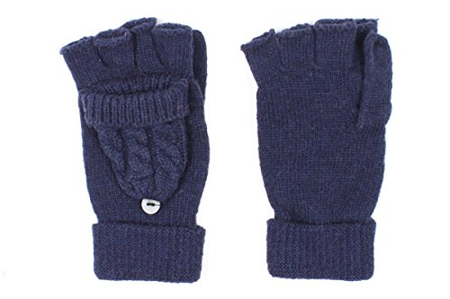 LL Cable Knit Navy Blue Flip Top Winter Gloves Fingerless Driving Mittens (Lady In The Navy Gloves)