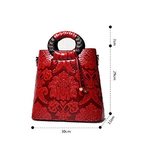 Chinois Rouge Faire en du Convient Travailler Sac Femme pour en Messenger De Style Dimensions pour YJIUJIU Bag Sac Trois Main Shopping Bandoulière À À Sortir Relief YxqAw14ZRn