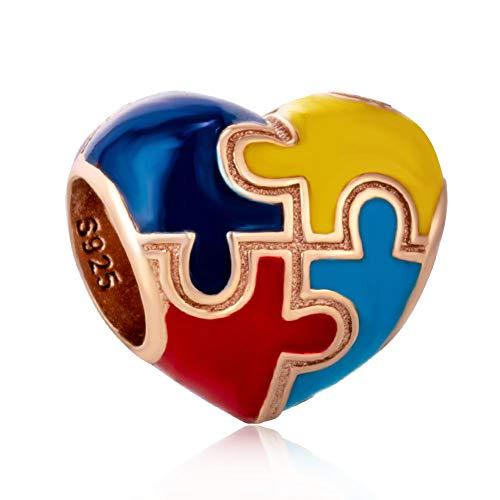 Autism with Color Heart-Shaped Pendant Charm 925 Sterling Silver Beads Fit European Bracelet