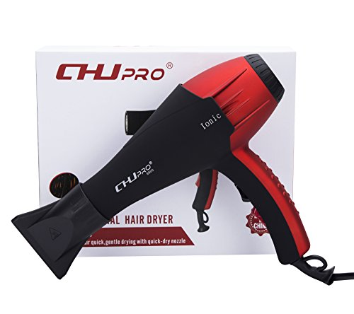 CHJPRO 2100W Professional Salon Ionic Hair Blow Dryer with Ceramic Tourmaline&Infrared (Black&Red)