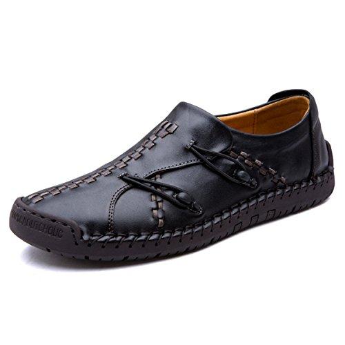 Pantofole Gracosy, Mens Mano In Pelle Cuciture Eleganti Mocassini Antiscivolo Barca Sneaker Slittamento Casuale Sui Scarpe Nere