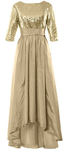 MACloth 3 Evening 4 of Mother High Low Gown Dress the Sequin Bride Champagner Women Sleeve pnr4qrW