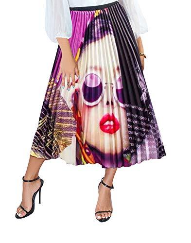 (Women's High Waist Pleated Skirts - Casual Summer Multicolor Elastic Waist Swing A-Line Pleated Midi Skirt Large Purple )