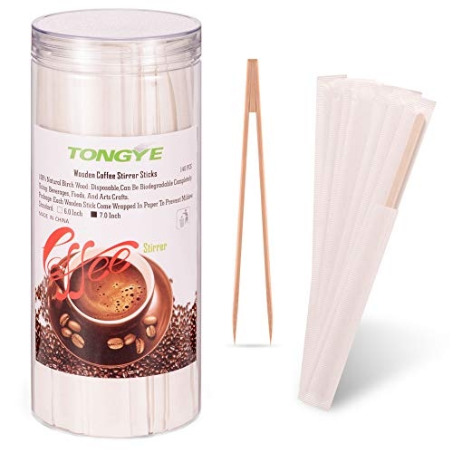 Wooden Coffee Stirrers Individually Wrapped with Bamboo Sugar