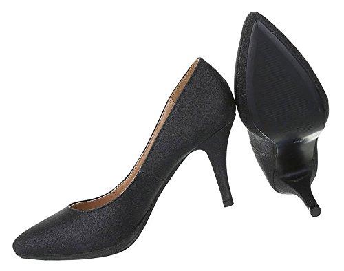 Spitze Damen Pumps Glitzer | Stiletto High Heels | Party Schuhe Glitzer | Abiball Hochzeit Schuhe | Abendschuhe Pumps | Schuhcity24 Schwarz