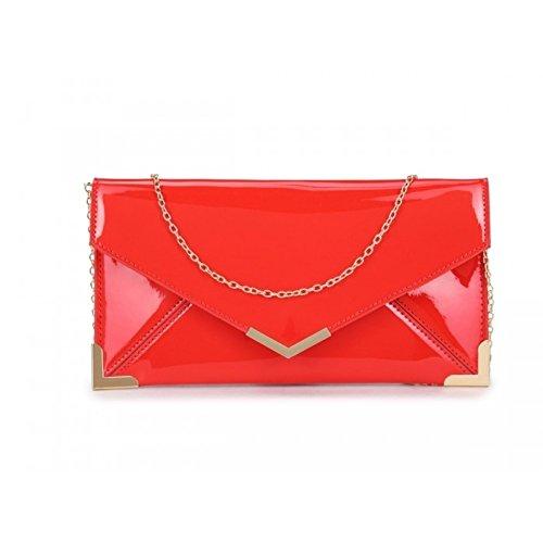 Elegant - Cartera de mano de Charol para mujer Red