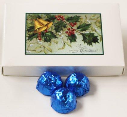 Scott's Cakes Milk Chocolate Lemon Cream Filling Candies with Dark Blue Foils in a 1 Pound Mistletoe Box
