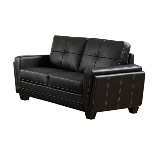 Furniture of America Silverdale Leatherette Loveseat – Black