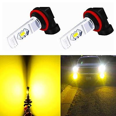 Alla Lighting 3800lm Xtreme Super Bright H16 LED Bulbs Fog Light High Illumination ETI 56-SMD LED H16 Bulb H11 H8 H16 Fog Lights Lamp Replacement - 3000K Amber Yellow