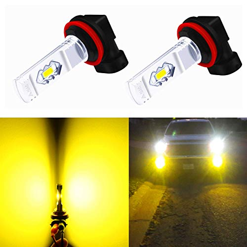 Alla Lighting 3800lm Xtreme Super Bright H11 LED Bulbs Fog Light High Illumination ETI 56-SMD LED H11 Bulb H8 H16 H11 Fog Lights Lamp Replacement - 3000K Amber Yellow