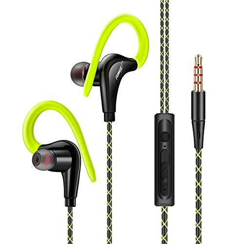 (Walmeck Wired in-Ear Waterproof Earphones Ear Hook Earbuds Stereo Super Bass Headphones Sport Headset with Mic)