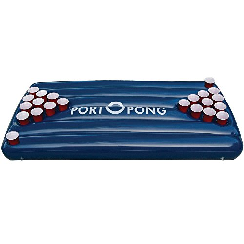 Inflatable Beer Pong Raft Table, Blue Pool Surface by PortOPong