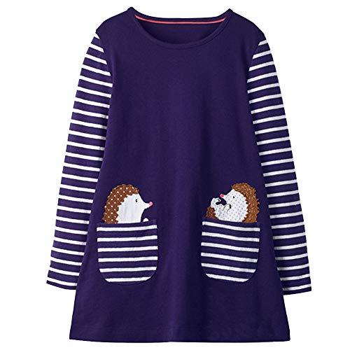 VIKITA Toddler Girl Loose Cotton Long Sleeve Dress Baby Girls Winter Casual Dresses 1-8 Years JM7667, 6T from VIKITA