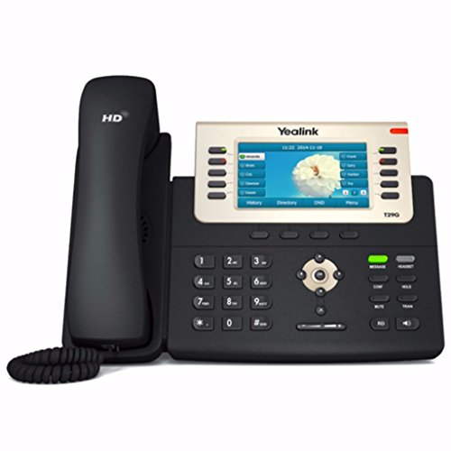 Yealink SIP-T29G IP Phone, 16 Lines. 4.3-Inch Color Display. USB 2.0, Dual-Port Gigabit Ethernet, 802.3af PoE, Power Adapter Not Included