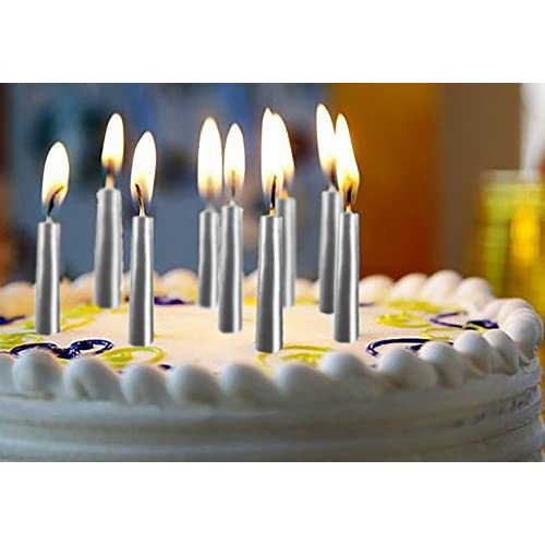 50OFF Silver Birthday Candles 45 Pack