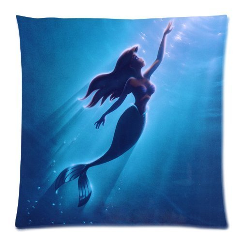Cartoon Cute The Little Mermaid Underwater World Sunlight Custom 18*18 Square Throw Pillowcase DIY Cushion Case (Little Underwater Lights)