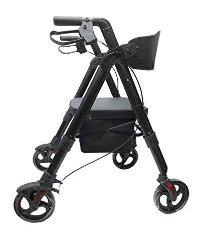 Deluxe Bariatric Rollator Walker; Heavy Duty with Large Padded Seat up to 500 Lb Capacity,Lightweight Just 20lbs from Mobb