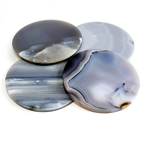 Brazilian Polished Edge Agate Drink Coasters Set of 4 (Smokey Gray) by The Royal Gift Shop